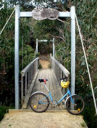 My father's bicycle, and the bridge named in his honour. Photo by Ellen Smith